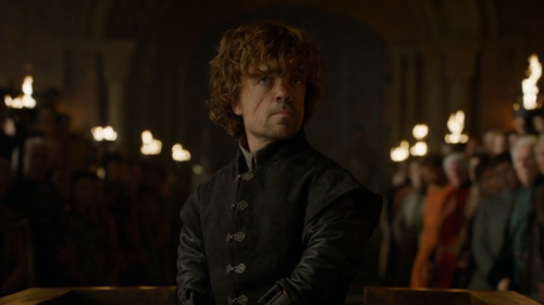 Tyrion, after first facing his charges, centered in the frame.