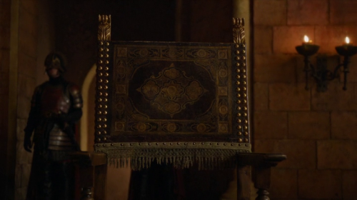 The empty chair, with Cersei in voiceover.